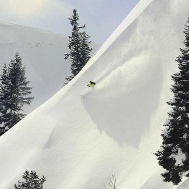 Powder skiing in Schladming, Austria